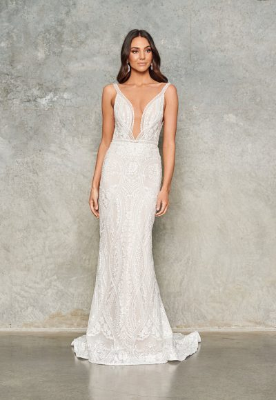 Sleeveless V-neck Lace Sheath Wedding Dress by Jane Hill