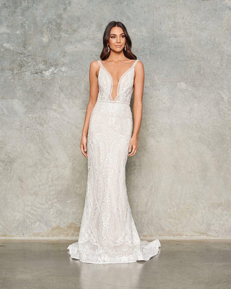 Sleeveless V-neck Lace Sheath Wedding Dress by Jane Hill - Image 1