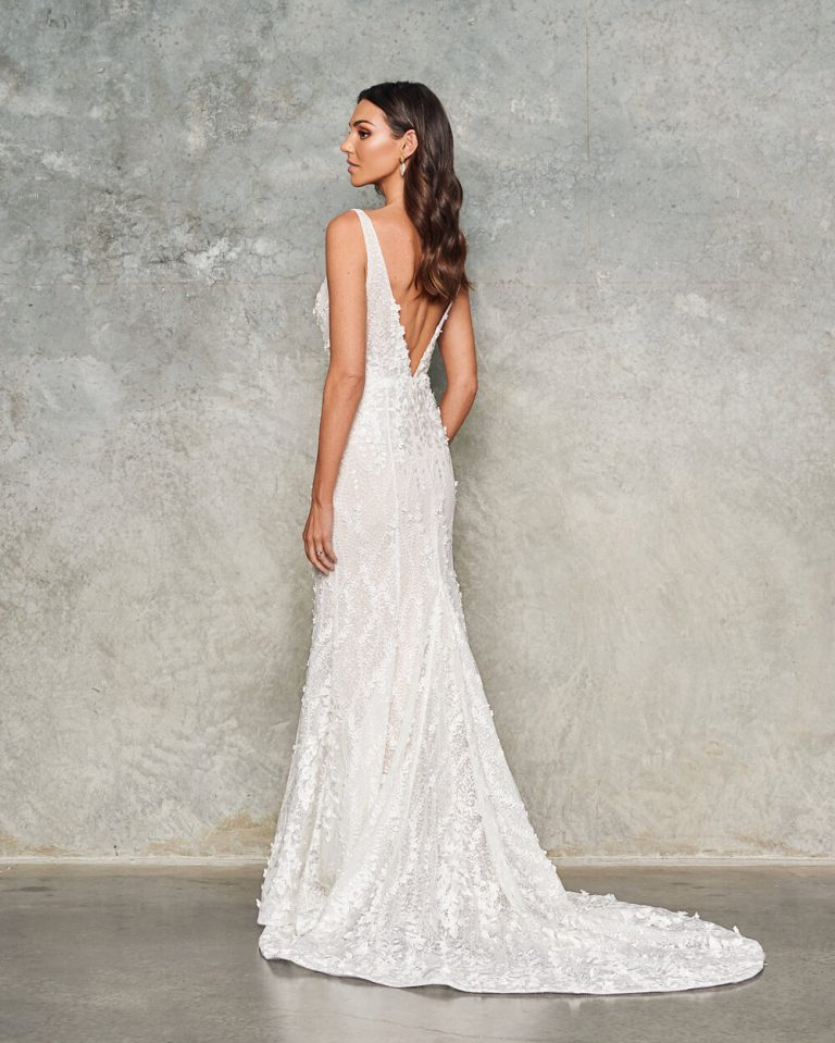 Sleeveless V-neck Sheath Floral Embroidered Wedding Dress by Jane Hill - Image 2