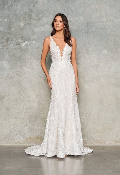 Sleeveless V-neck Sheath Floral Embroidered Wedding Dress by Jane Hill