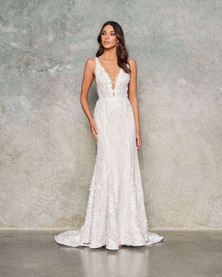 Sleeveless V-neck Sheath Floral Embroidered Wedding Dress by Jane Hill - Image 1
