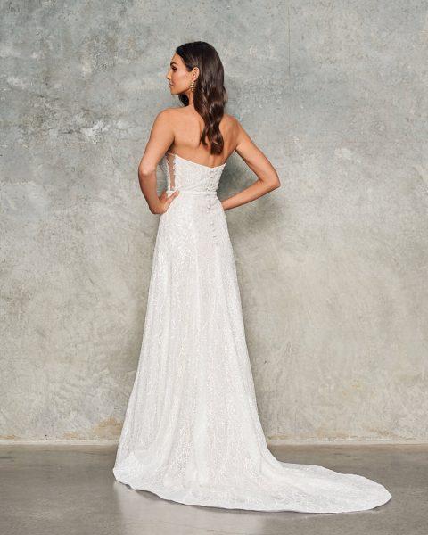 Strapless Beaded Sheath Wedding Dress by Jane Hill - Image 2