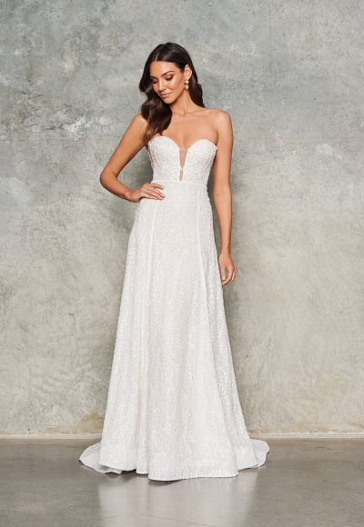 Strapless Beaded Sheath Wedding Dress by Jane Hill