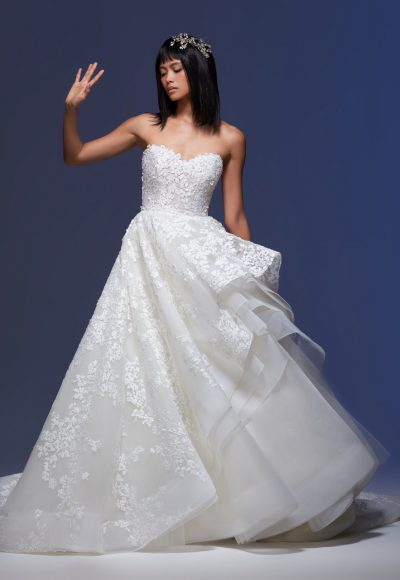 Strapless Sweetheart Neckline Embroidered Tulle Ball Gown Wedding Dress by Lazaro
