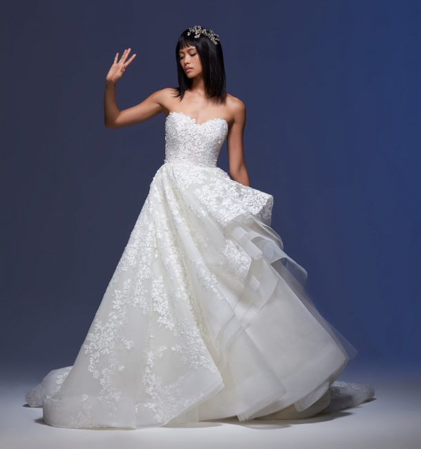 Strapless Sweetheart Neckline Embroidered Tulle Ball Gown Wedding Dress by Lazaro - Image 1