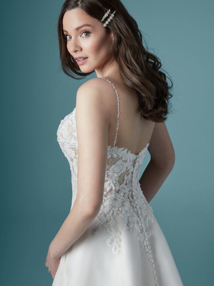 Spaghetti Strap V-neck A-line Wedding Dress by Maggie Sottero - Image 2
