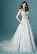 Spaghetti Strap V-neck A-line Wedding Dress by Maggie Sottero - Image 1