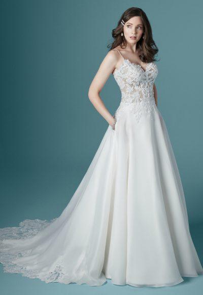 Spaghetti Strap V-neck A-line Wedding Dress by Maggie Sottero