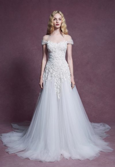 Short Sleeve Illusion Embroidered A-line Wedding Dress by Marchesa