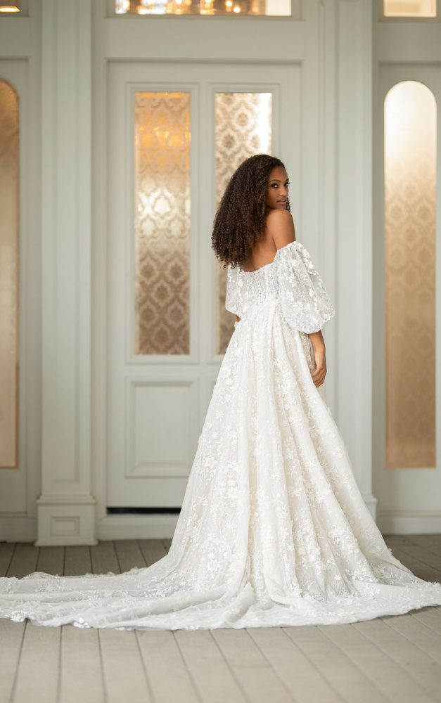 Off The Shoulder Embroidered Lace A-line Wedding Dress With Puff Sleeves by Martina Liana Luxe - Image 2