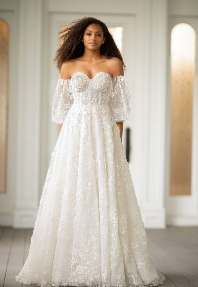 Off The Shoulder Embroidered Lace A-line Wedding Dress With Puff Sleeves by Martina Liana Luxe