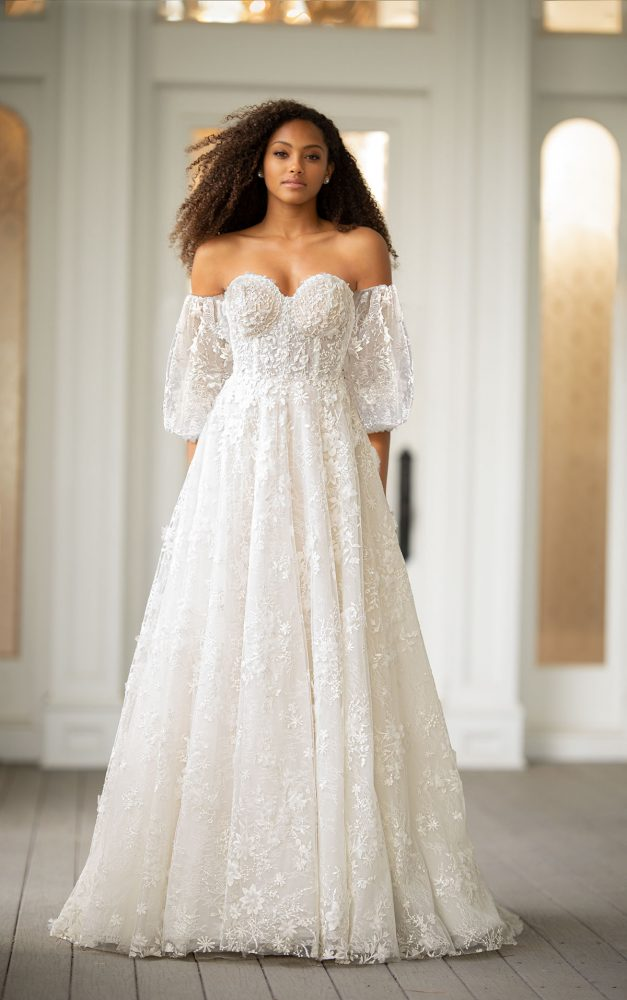 Off The Shoulder Embroidered Lace A-line Wedding Dress With Puff Sleeves by Martina Liana Luxe - Image 1
