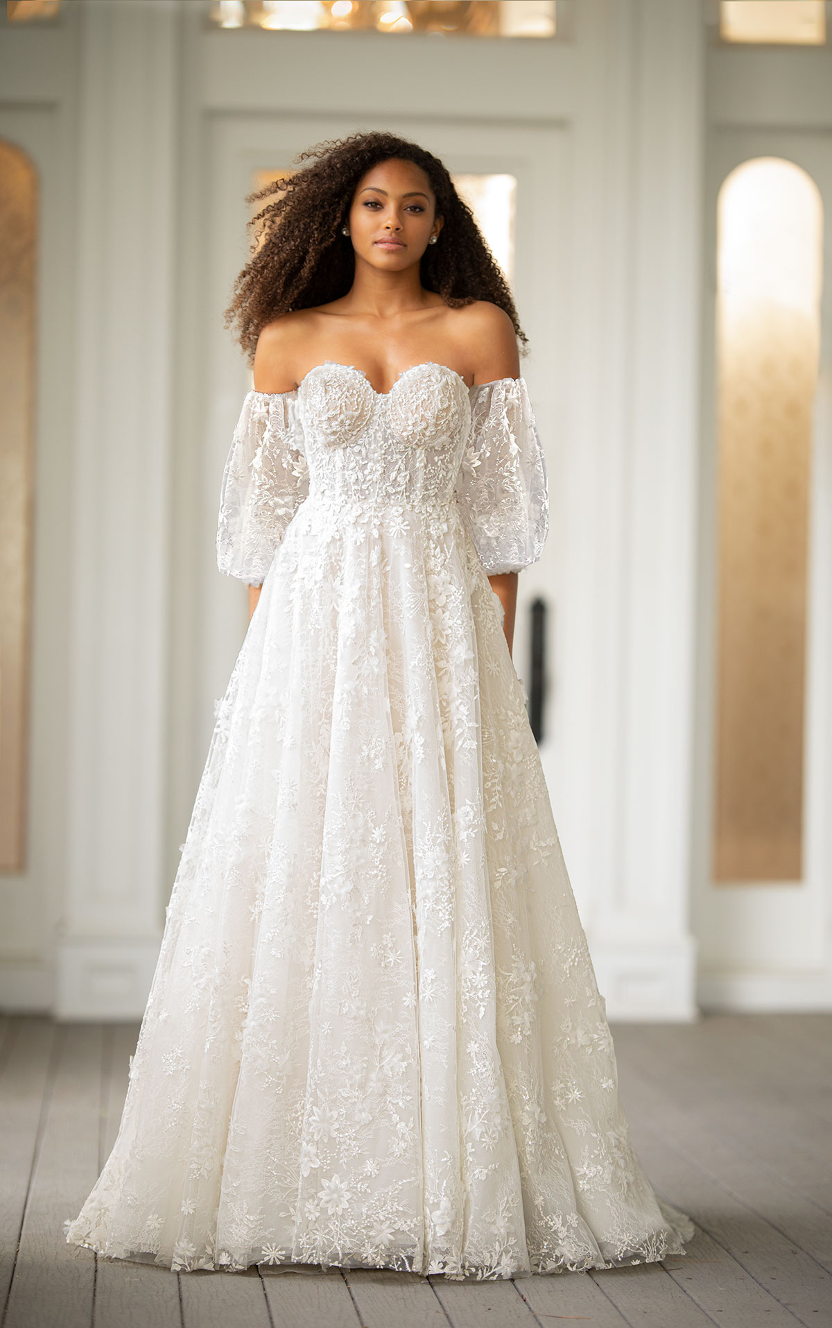 Off The Shoulder Embroidered Lace A line Wedding Dress With Puff ...
