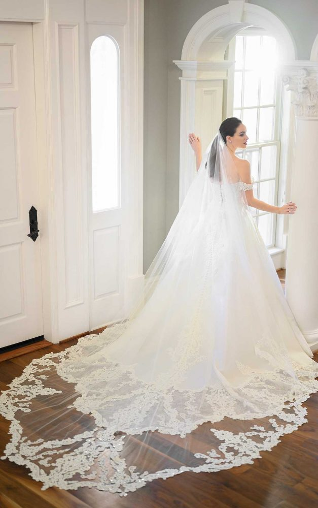 Off-the-shoulder Pearl Beaded Ball Gown Wedding Dress by Martina Liana Luxe - Image 2