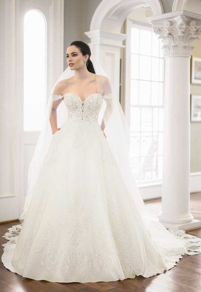 Off-the-shoulder Pearl Beaded Ball Gown Wedding Dress by Martina Liana Luxe