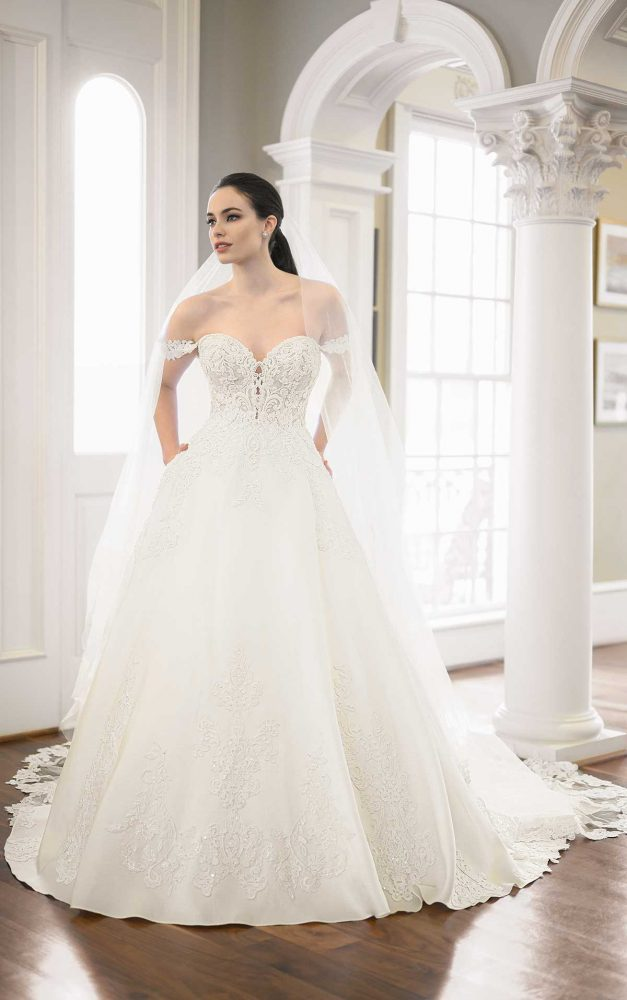Off-the-shoulder Pearl Beaded Ball Gown Wedding Dress by Martina Liana Luxe - Image 1