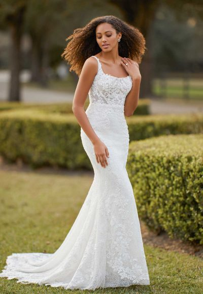 Sleeveless Scoop Neck Fit And Flare Beaded Lace Wedding Dress by Martina Liana Luxe