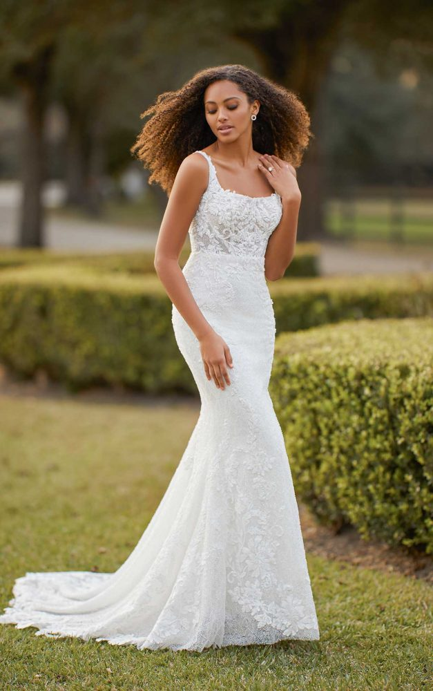 Sleeveless Scoop Neck Fit And Flare Beaded Lace Wedding Dress by Martina Liana Luxe - Image 1