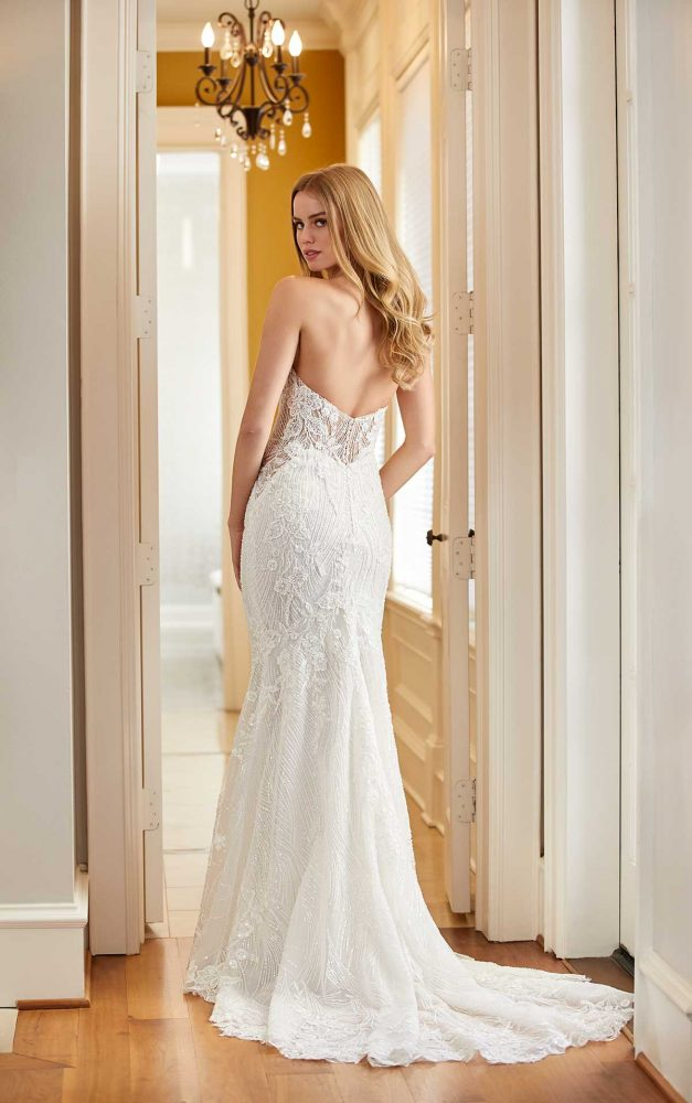Sleeveless Square Neck Beaded Lace Fit And Flare Wedding Dress by Martina Liana Luxe - Image 2