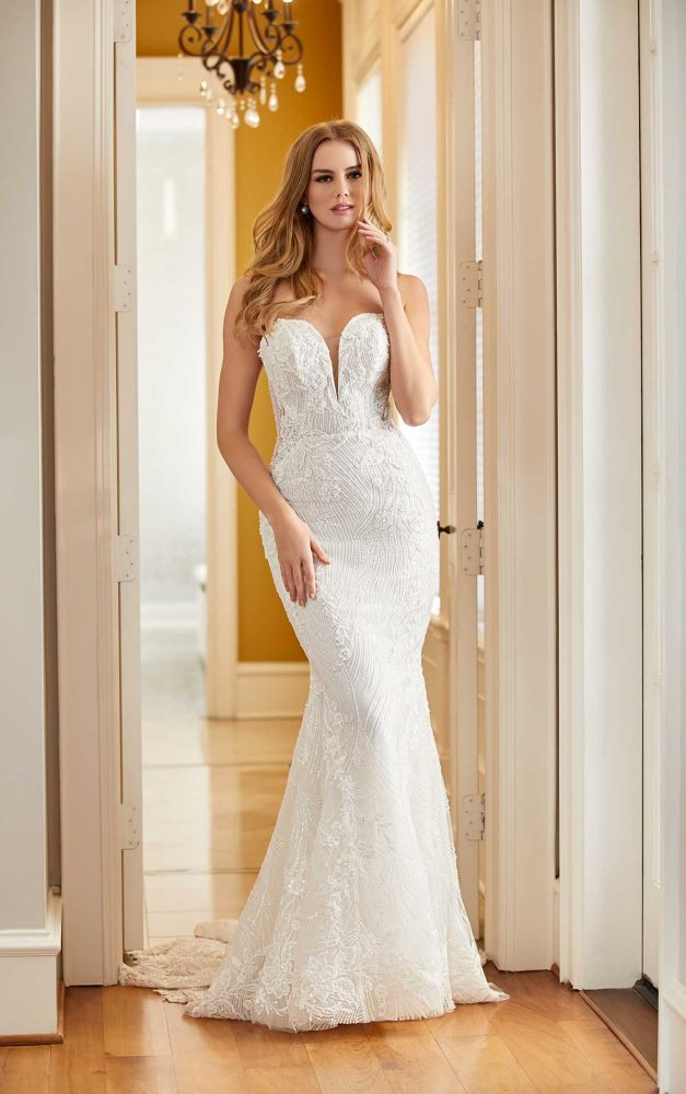 Sleeveless Square Neck Beaded Lace Fit And Flare Wedding Dress by Martina Liana Luxe - Image 1