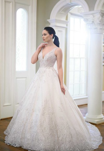 Sleeveless V-neckline Beaded Ball Gown Wedding Dress by Martina Liana Luxe