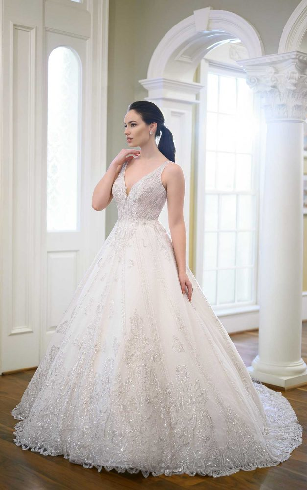 Sleeveless V-neckline Beaded Ball Gown Wedding Dress by Martina Liana Luxe - Image 1