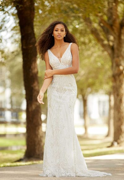 Sleeveless V-neckline Beaded Fit And Flare Wedding Dress by Martina Liana Luxe