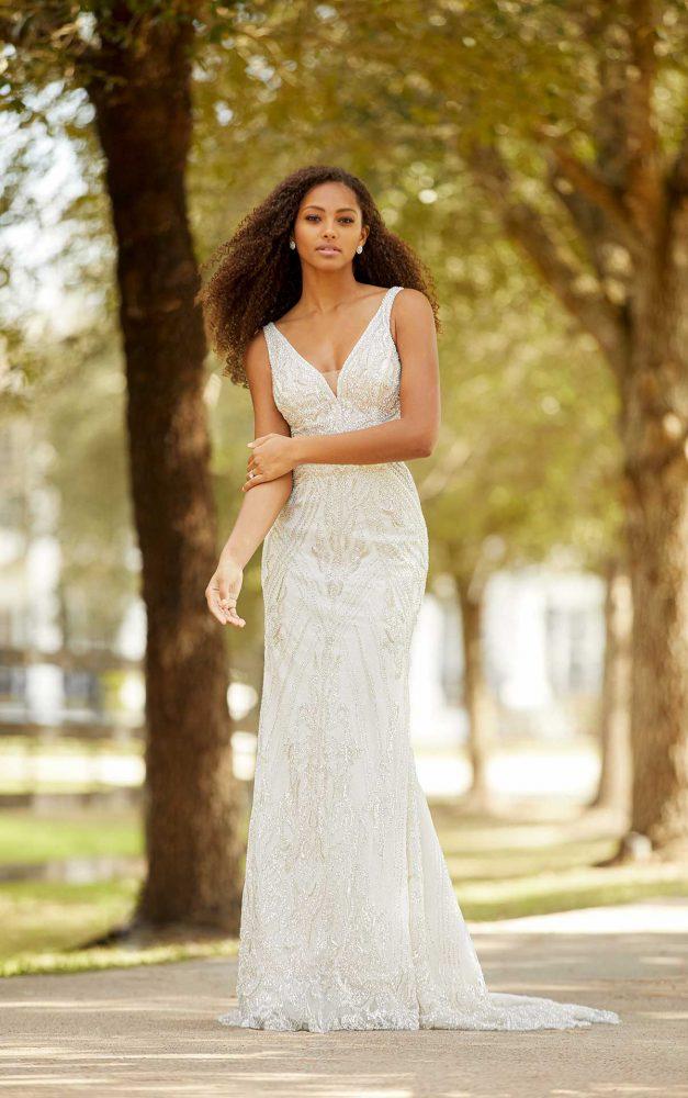 Sleeveless V-neckline Beaded Fit And Flare Wedding Dress by Martina Liana Luxe - Image 1