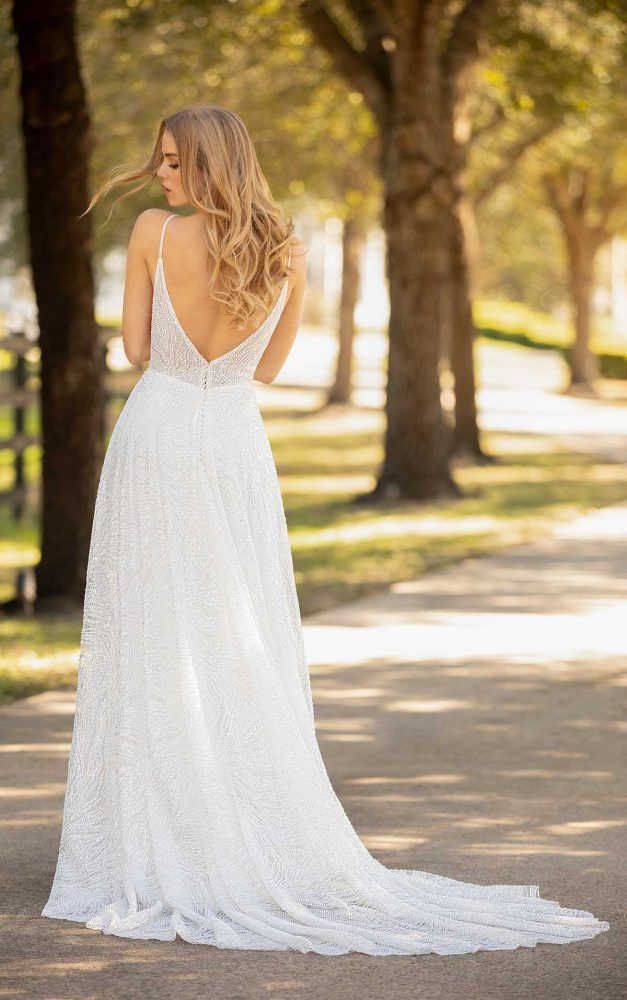 Spaghetti Strap Plunging V-neckline Beaded Sequin A-line Wedding Dress by Martina Liana Luxe - Image 2