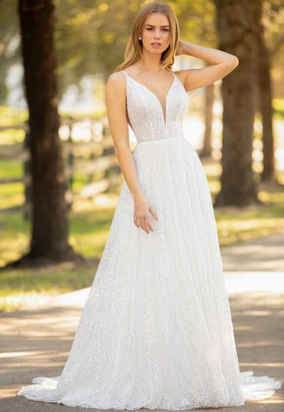 Spaghetti Strap Plunging V-neckline Beaded Sequin A-line Wedding Dress by Martina Liana Luxe