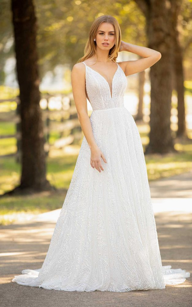 Spaghetti Strap Plunging V-neckline Beaded Sequin A-line Wedding Dress by Martina Liana Luxe - Image 1