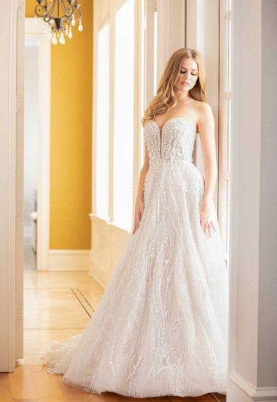 Strapless Sweetheart Neckline Beaded And Embroidered A-line Wedding Dress by Martina Liana Luxe