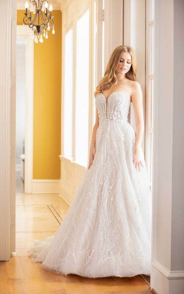 Strapless Sweetheart Neckline Beaded And Embroidered A-line Wedding Dress by Martina Liana Luxe - Image 1
