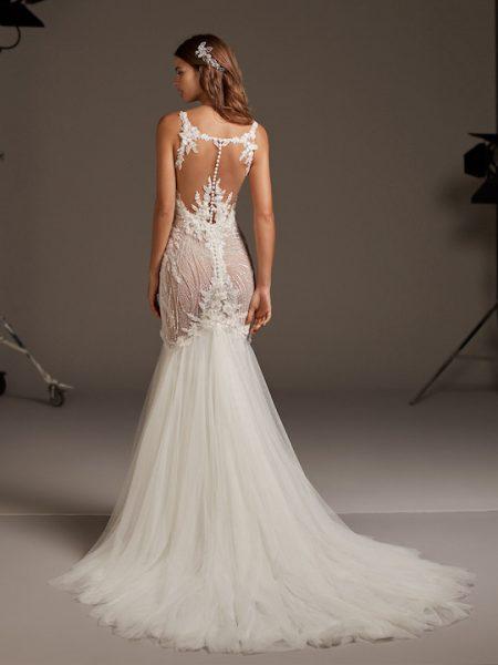 Spaghetti Strap Mermaid Wedding Dress With Beaded Bodice by Pronovias - Image 2