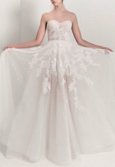 Strapless Sweetheart A-line Lace Wedding Dress by Reem Acra