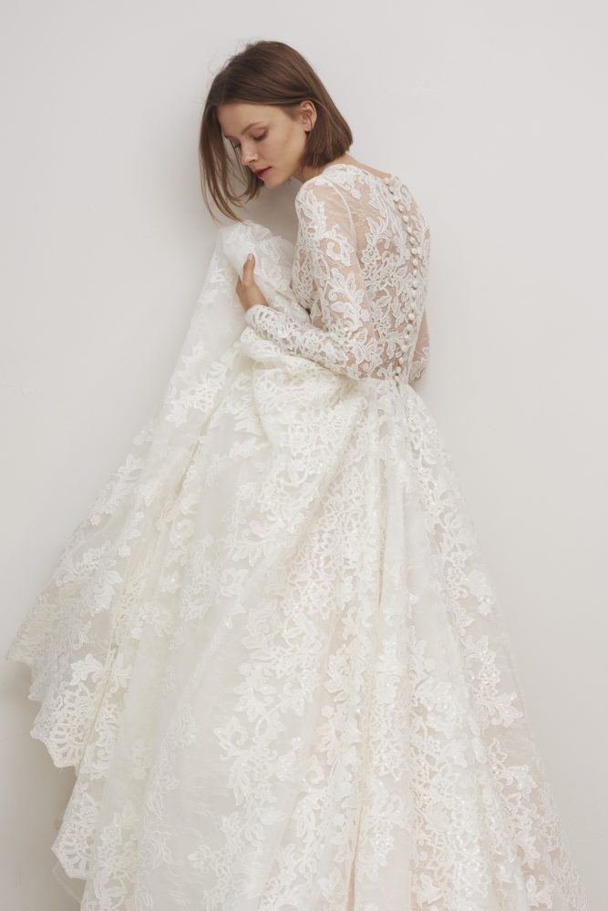 Long Sleeve Lace V-neck Ball Gown Wedding Dress by Rivini - Image 2