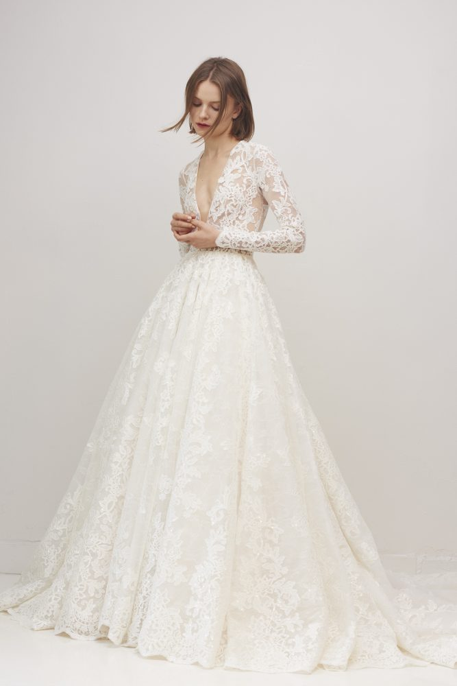 Long Sleeve Lace V-neck Ball Gown Wedding Dress by Rivini - Image 1