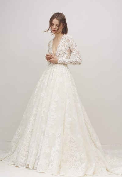 Long Sleeve Lace V-neck Ball Gown Wedding Dress by Rivini