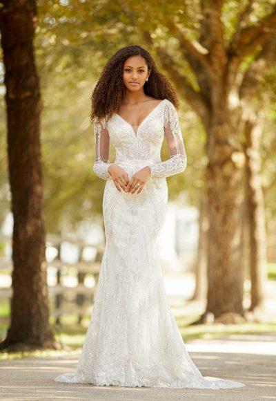 Sleeveless V-neckline Beaded Fit And Flare Wedding Dress by Martina Liana Luxe