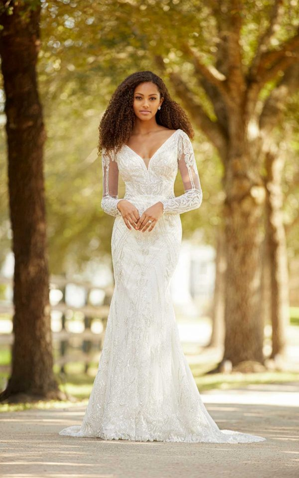Sleeveless V-neckline Beaded Fit And Flare Wedding Dress by Martina Liana Luxe - Image 1