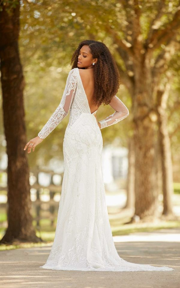 Sleeveless V-neckline Beaded Fit And Flare Wedding Dress by Martina Liana Luxe - Image 2