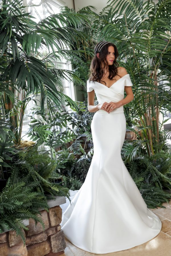 Off The Shoulder Draped Fit And Flare Wedding Dress by Sareh Nouri - Image 3
