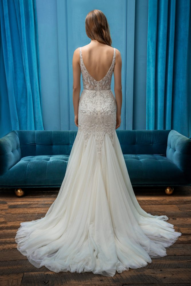 Sleeveless Fit and Flare V-Neckline Wedding Dress by Enaura Bridal - Image 2