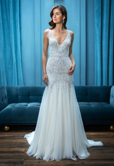 Sleeveless Fit and Flare V-Neckline Wedding Dress by Enaura Bridal