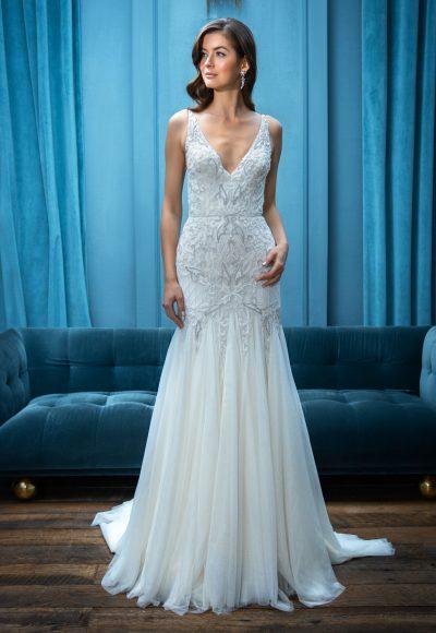Sleeveless Fit and Flare V-Neckline Wedding Dress by Enaura Bridal