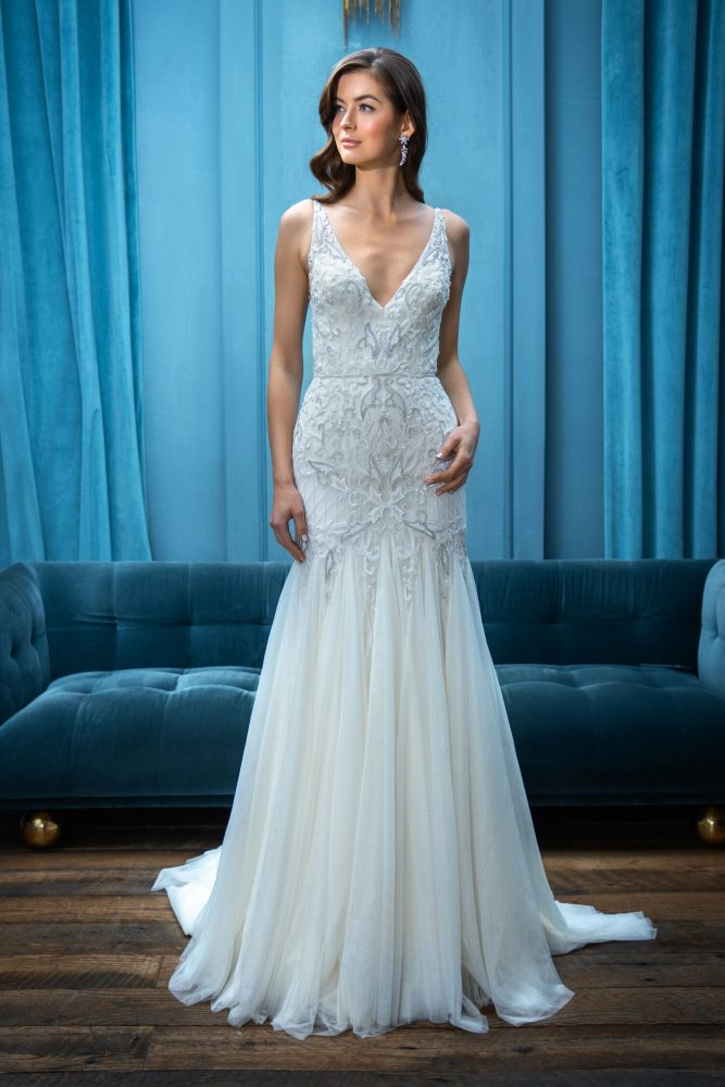 Sleeveless Fit and Flare V-Neckline Wedding Dress by Enaura Bridal - Image 1