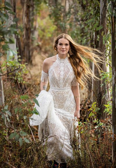 BOHO INSPIRED FIT-AND-FLARE WEDDING DRESS WITH FRINGE DETAILS by All Who Wander