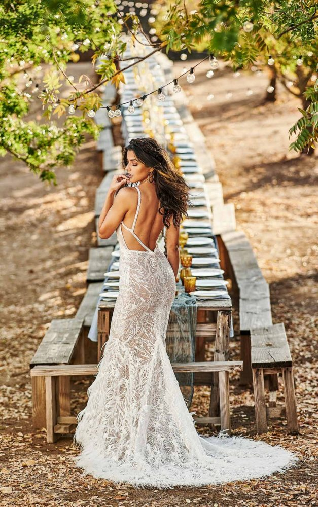MODERN BOHEMIAN WEDDING DRESS WITH NUDE CUTOUTS by All Who Wander - Image 2