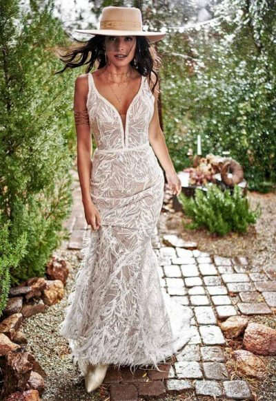 MODERN BOHEMIAN WEDDING DRESS WITH NUDE CUTOUTS by All Who Wander