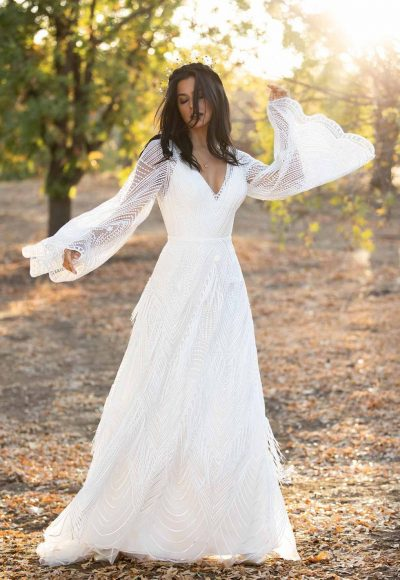 ROMANTIC BOHO WEDDING DRESS WITH LACE BELL SLEEVES by All Who Wander